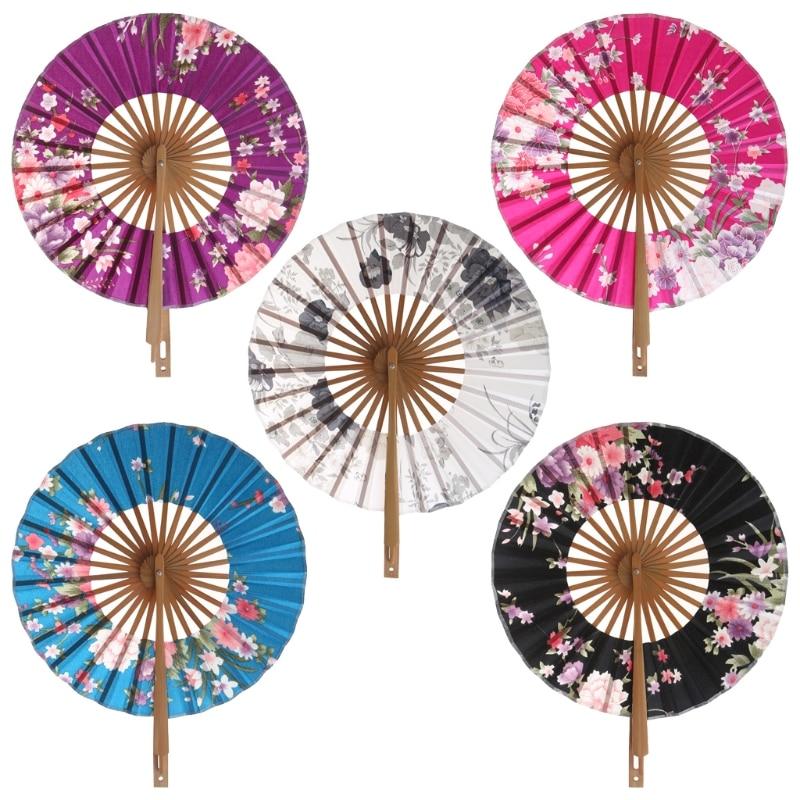 Sakura japonés de bolsillo con flores abanico de mano plegable círculo redondo decoración de fiesta regalo