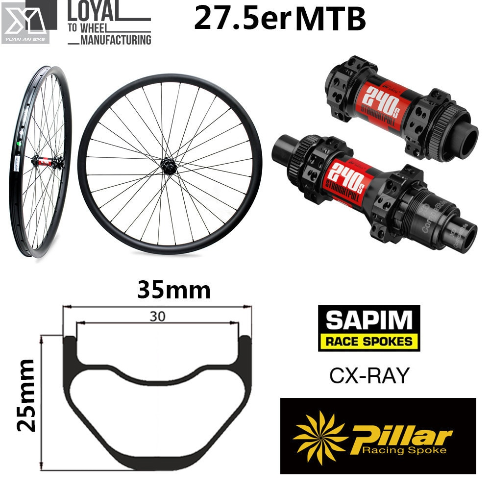 650b carbono mtb bicicleta rodado 35mm largura 25mm profundidade 27.5er mountain bike roda tubeless pronto dt swiss 240 hub sapim raios
