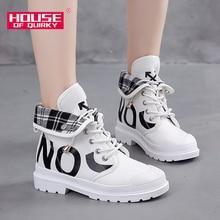 High Top Rubber Ladies Canvas Shoes Comfortable Platform Sneakers Women Casual Shoes Lace-up Vulcanized Shoes Autumn Women Shoes