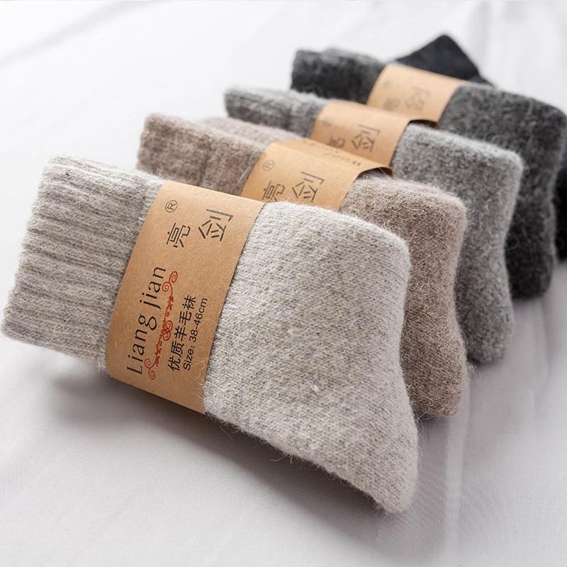 Alta qualidade grosso merino rússia meias de lã masculino clássico marca meias masculinas meias quentes meias de inverno