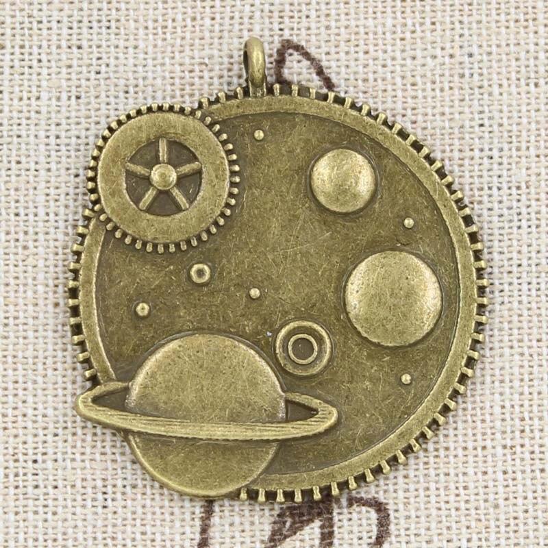 2 piezas de abalorios de Sistema Solar Galaxy 41x37mm antiguo, colgante de aleación de Zinc ajuste, Vintage tibetano bronce color plata, DIY para hecho a mano