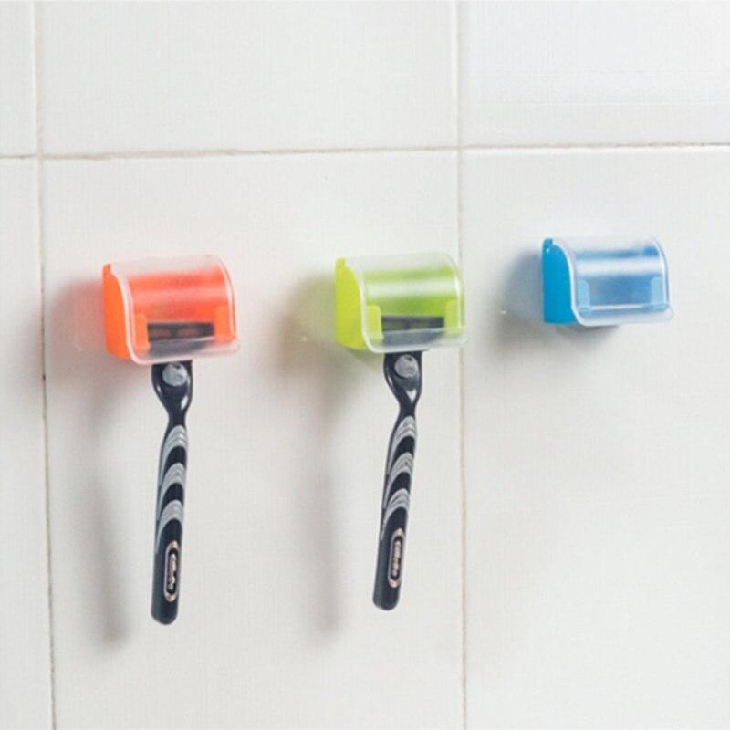 Étagère de rangement de rasoir hommes   Étui plastique pour rasoir anti-poussière, socle pour boîte de rasoir, ventouse pour hommes, étagère de rangement murale de salle de bains, capuchon de rasoir, support de rasoir
