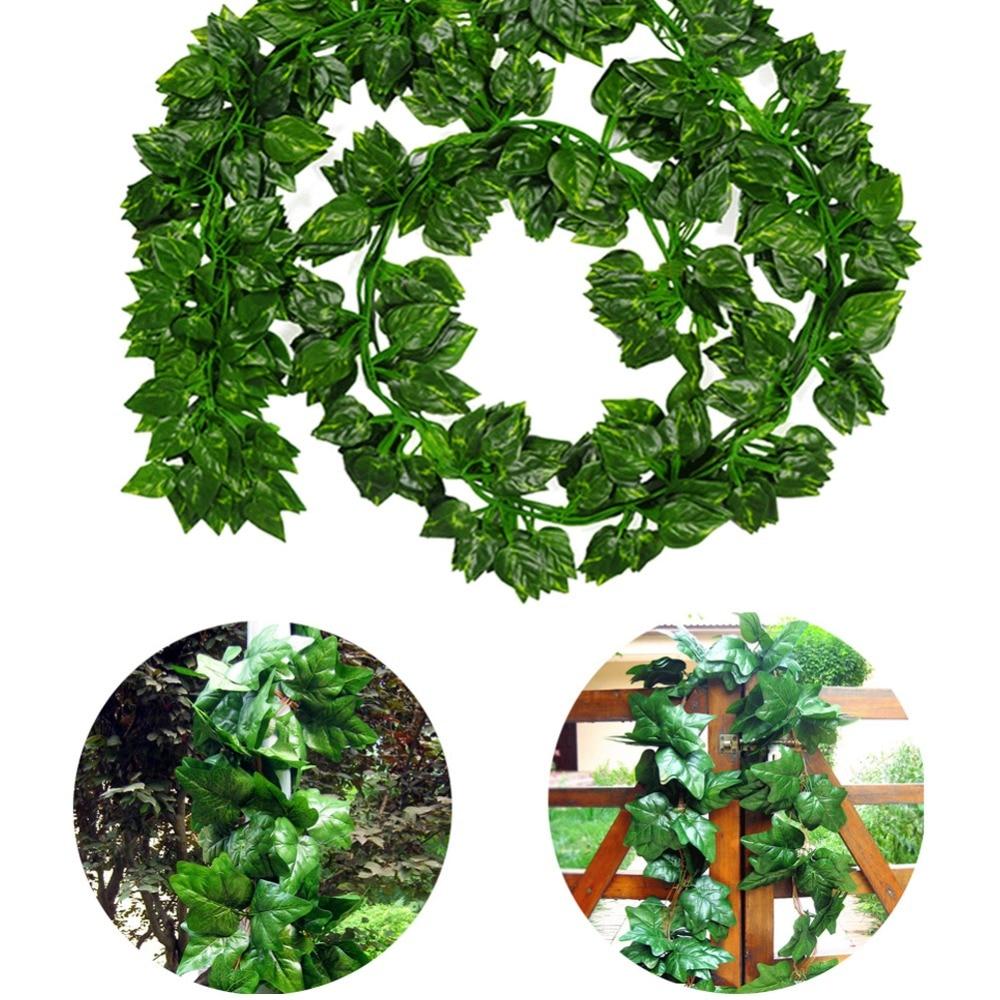 12Pcs/Lot Long Artificial Plants Green Ivy Leaves Artificial Climbing Tiger Grape Vine Fake Foliage Leaves Wedding Home Decor