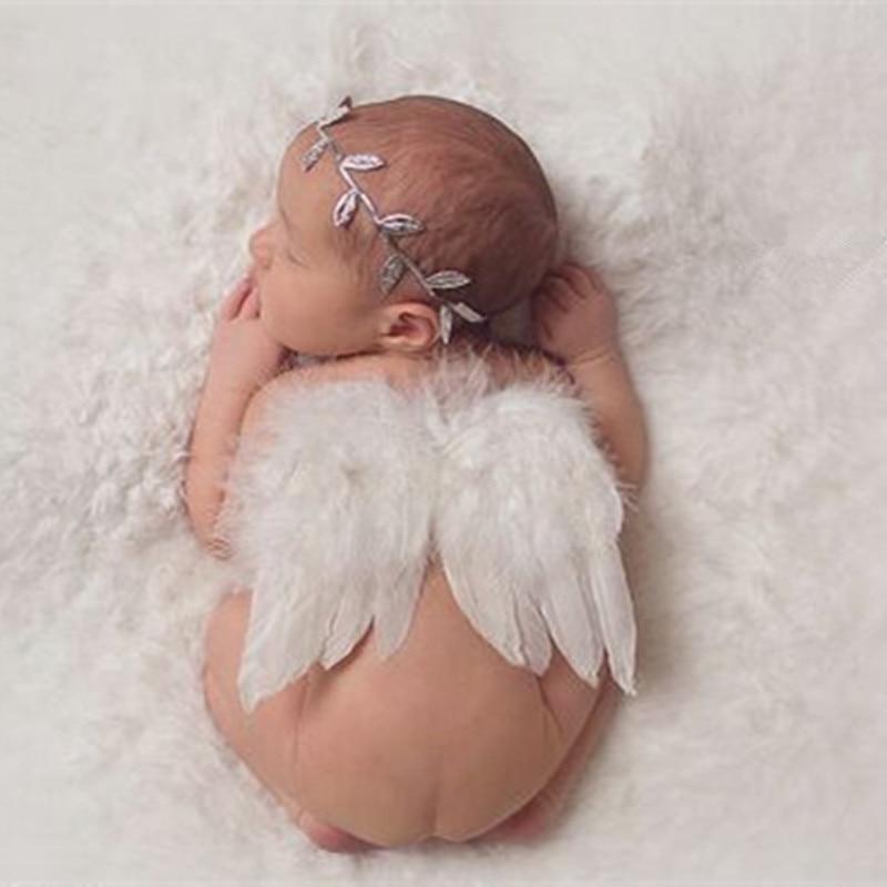 Accesorios de fotografía recién nacido moda bebé niños Fotografía disfraz Diadema con hojas y alas de Ángel accesorios de fotografía