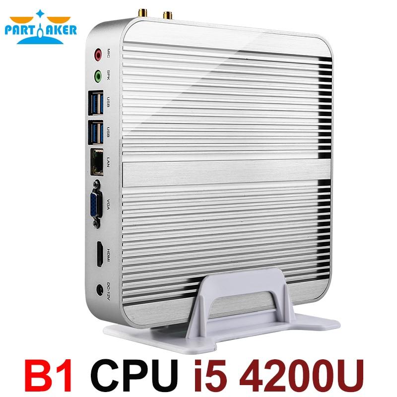 Безвентиляторный Barebone i5 мини ПК Win10 3 года гарантии Nuc компьютер Intel Core i5 4200U 4K HTPC ТВ коробка DHL Бесплатная доставка
