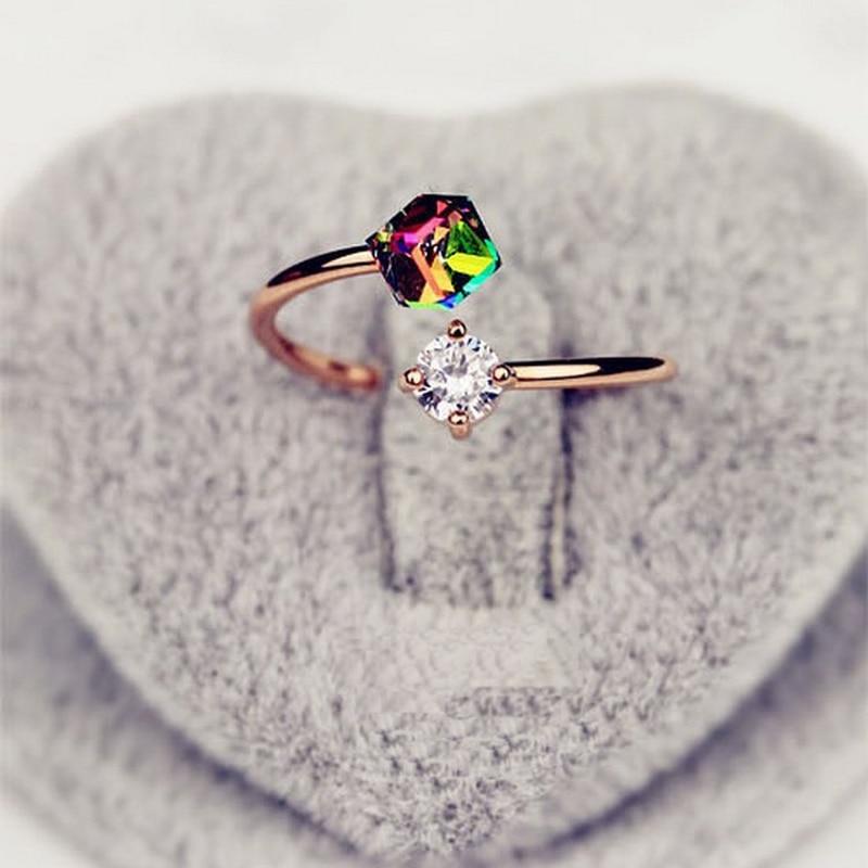 ZMZY Finger Zirkonia Ring Verlobung Ringe für Frauen Rose Gold Farbe Hochzeit Ringe Kristall Ring Einstellbare Schmuck