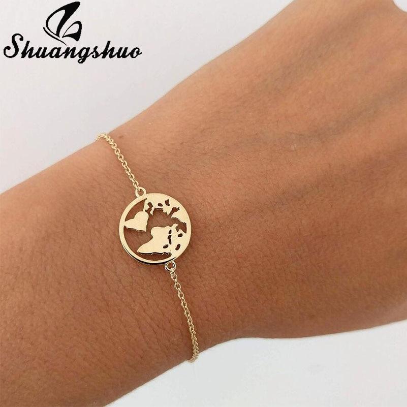 Shuangshuo, цепочка, ссылка, Карта мира, браслеты, ювелирные изделия, глобус, браслет, шарм, туристические украшения, подарок, Wanderlust, браслет с землей