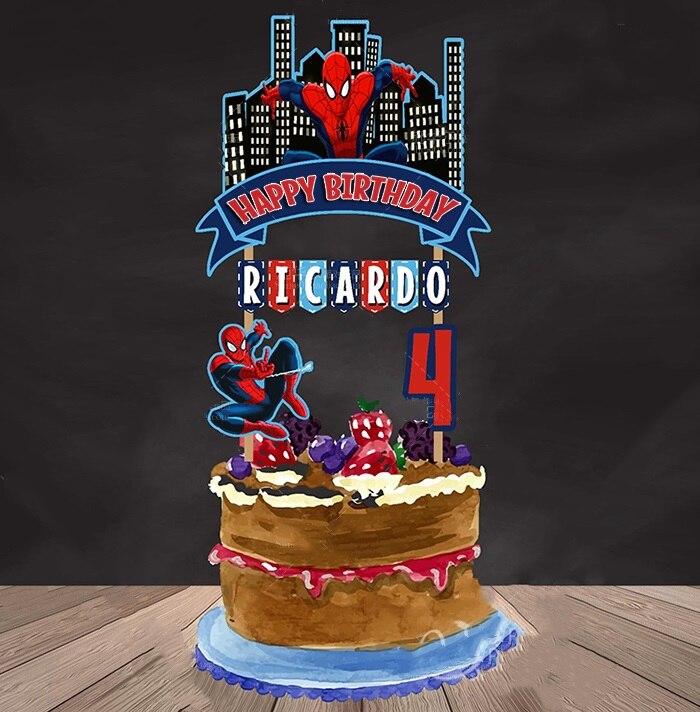 Custom Superhero Party Supplies Picks Kids Baby Shower Boy Happy Birthday Cupcake Topper Decorations Gift Accessories