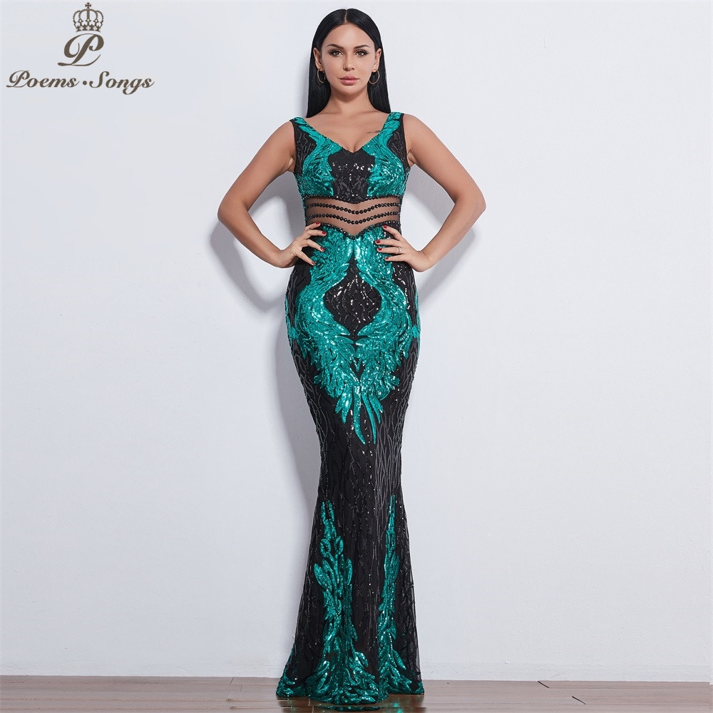 New style Angel wings Sequin Evening dresses for women long vestido de festa Evening gowns vestidos elegante vestido de mujer