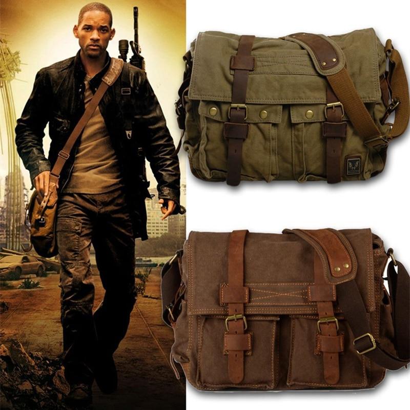 Borse a tracolla da uomo in pelle di tela Burminsa I AM LEGEND Will Smith borse a tracolla a cartella grande borsa da viaggio per Laptop da uomo