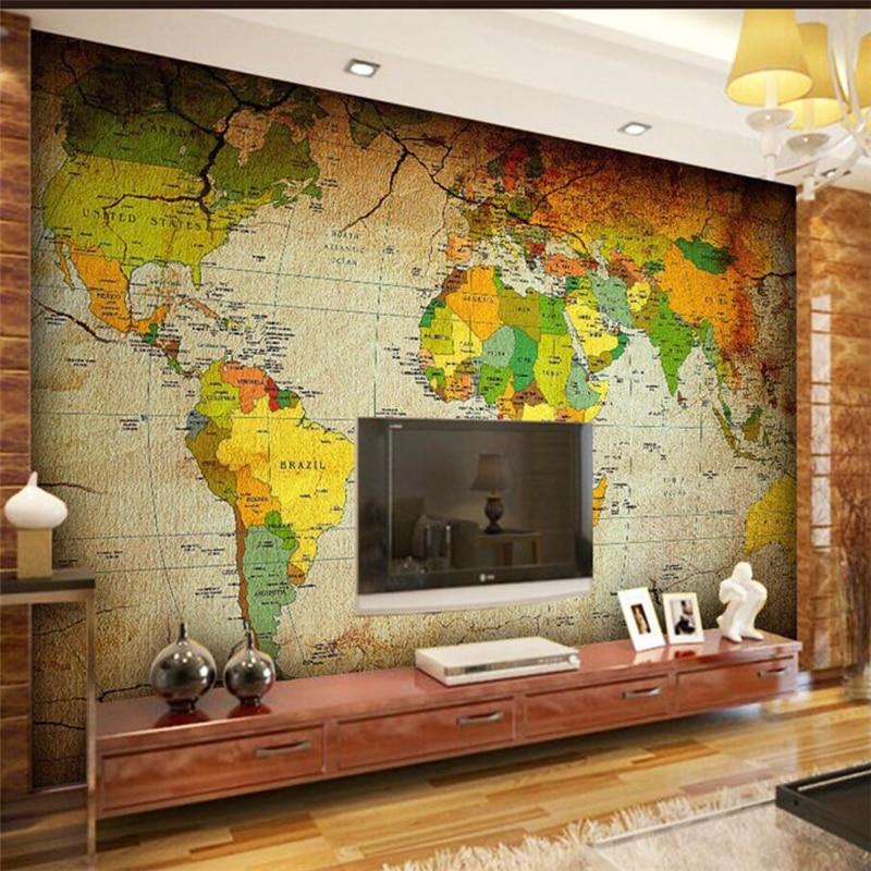 Papel pintado wellyu papel pintado para paredes 3 d papel pintado personalizado color antiguo mapa del mundo mural papel tapiz para paredes 3 d