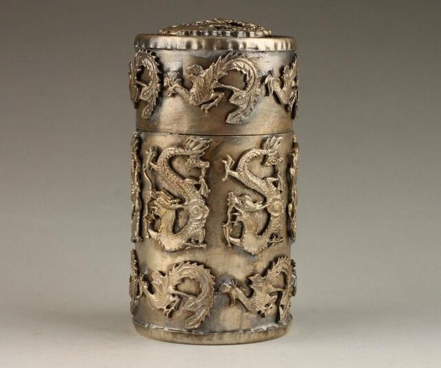 Vintage Collection Handmade unikatowy tybetański srebrny smok Phoenix pudełko wykałaczek hurtownia sklepów fabrycznych