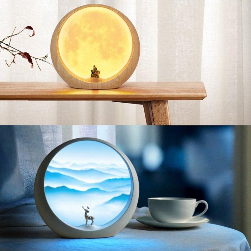 Creativo lámpara LED con forma de Luna recargable 3D noche de luna Interruptor táctil para luz 3 modos de lámparas de mesa de Casa decoración de escritorio de regalo de vacaciones