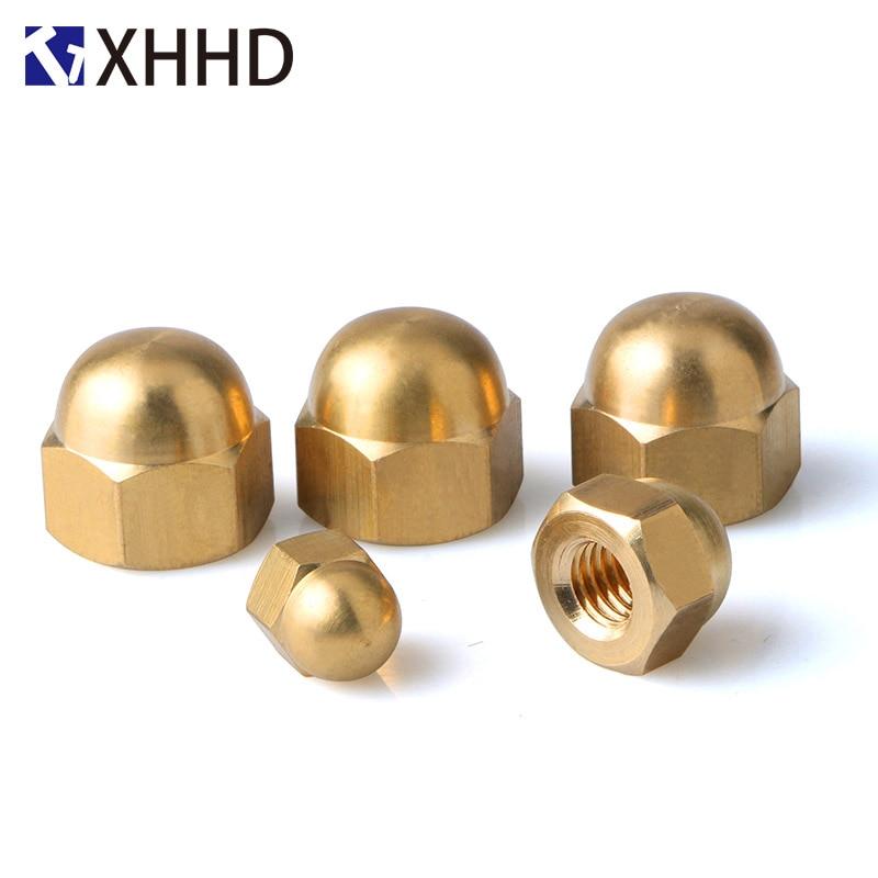 Купить с кэшбэком M3 M4 M5 M6 Brass Hex Metric Thread Cap Nuts Copper Decorative Dome Head Cover Semicircle Acorn Nut