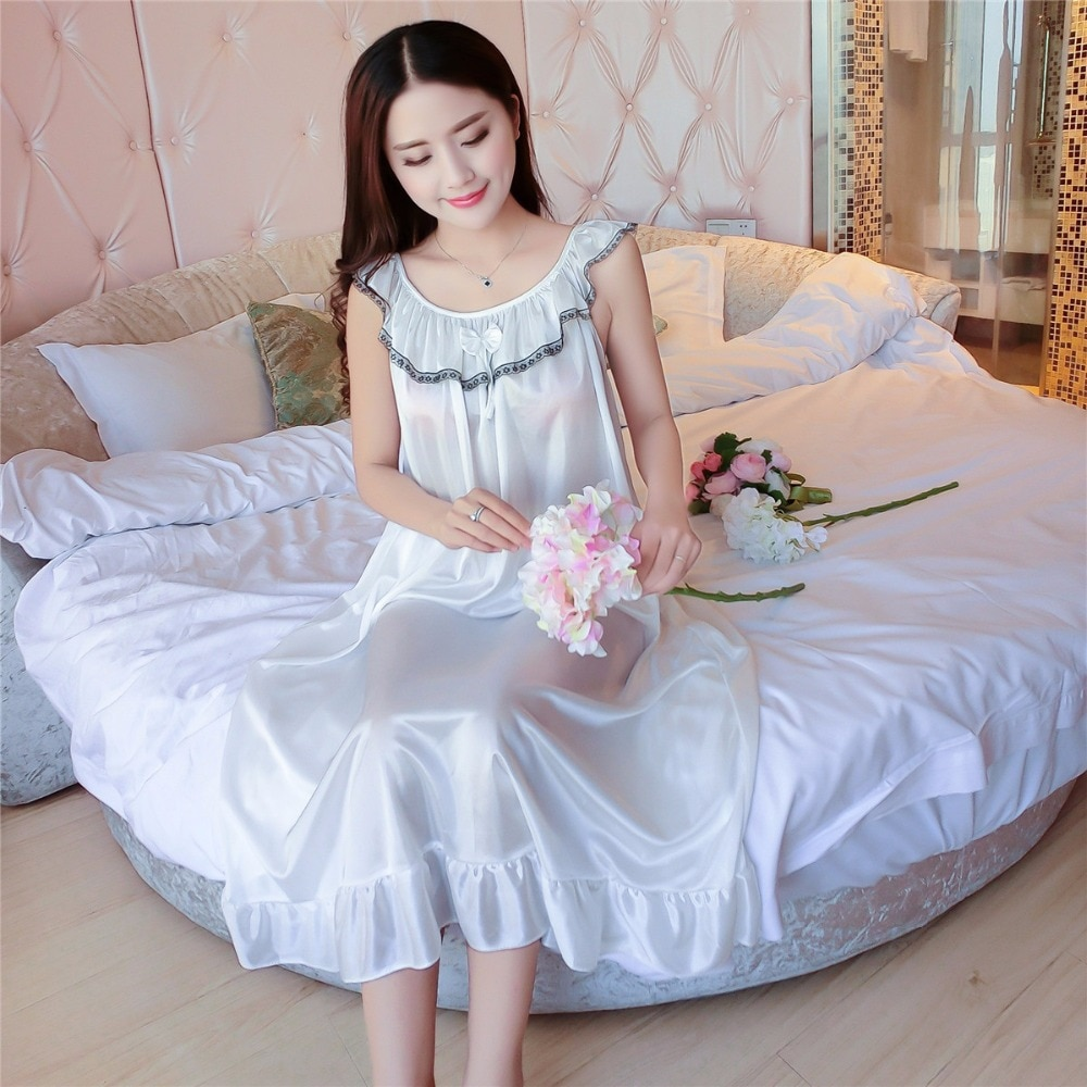 Pure ice silk woman nightgown summer Sleeveless ladies Bow sleepwear fat MM Ruffles long nightdress women Home Furnishing wear