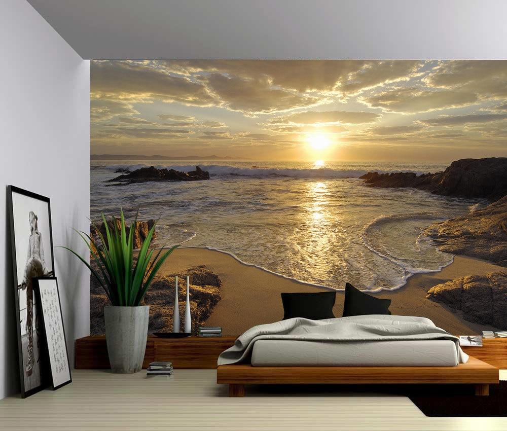 Пользовательские 3D фото обои Восход морской волны закат пляж настенный постер наклейки домашний Декор Виниловый Съемный Декор