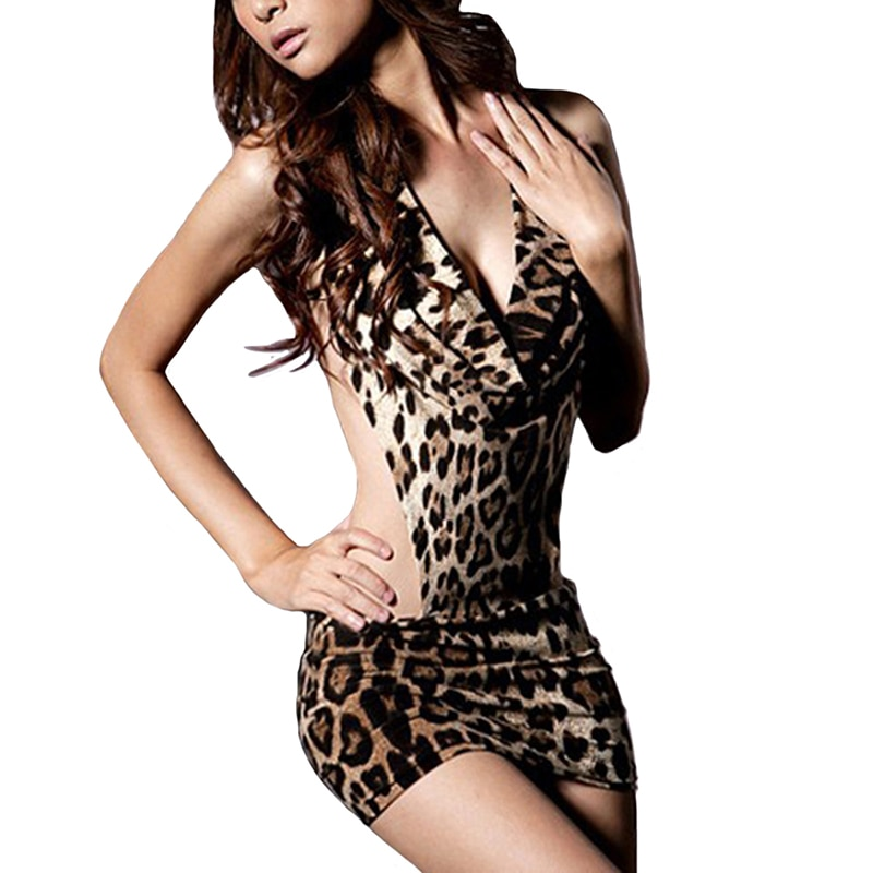 Women Leopard Sexy Costumes V Neck Sex Dress Halter Backless Erotic Dress Porn Babydoll Fantasia Sexy Lingerie Erotik Costume