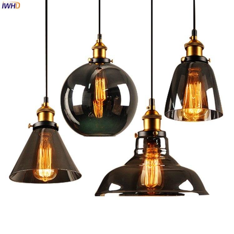IWHD Loft Stil Retro Anhänger Lichter Leuchten Dinning Wohnzimmer Glas Hängen Licht Vintage Lampe Industrielle Anhänger Beleuchtung