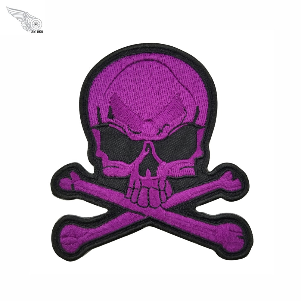 Parche de calavera púrpura militar bordado hierro en motorista no club ropa fresca decoración parches punk ches tamaño parches para camisa