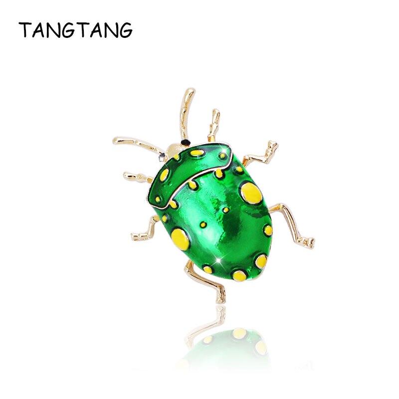 TANGTANG pintado verde imitador chinches broche esmalte broche de insecto de oro de la joyería de Color 2018 de verano a la moda broche a la moda