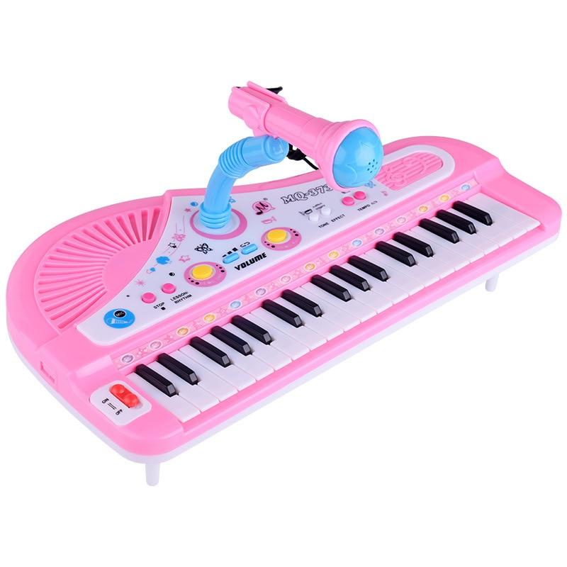 Детские развивающие электронные пианино, детские игрушки, детская клавиатура для мальчиков и девочек, Пальцы для детей, музыка, 37 клавиш, подарок, пластик, милый