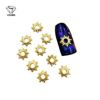 50 pcsbag 3d nail art deco hollow out the sun shape alloy nail stickers manicure nail beautiful girl adornment glamour