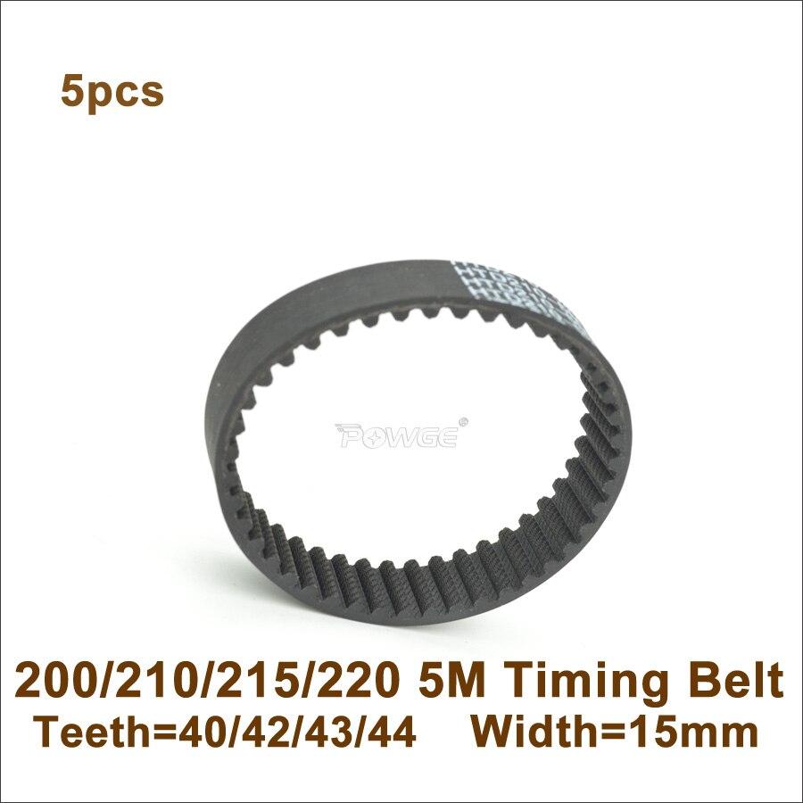 POWGE 200/210/215/220 5 м Синхронный ремень W = 10/15/20 мм зубцы 40/42/43/44 HTD5M S5M резиновый закрытый петельный ремень 200-5 м 220-5 м 210-5 м