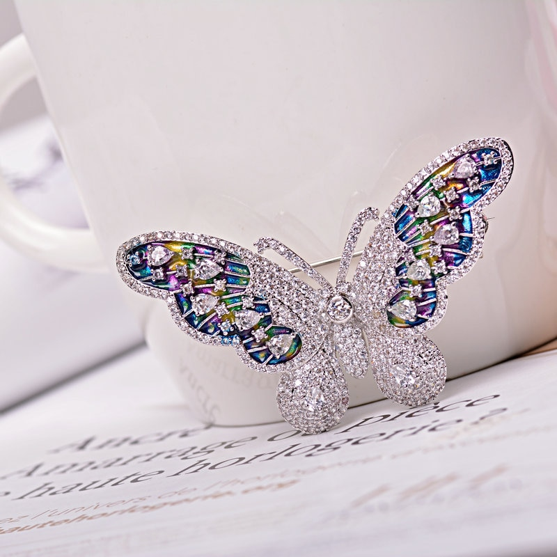Exquisite Colorful Enamel Butterfly Brooch Pin Clear AAA CZ 2150055