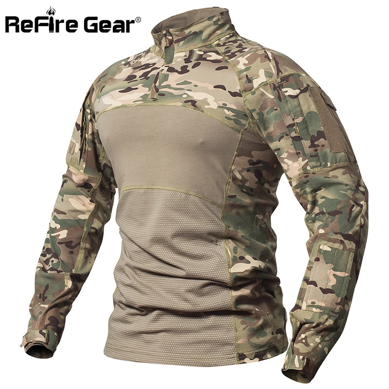 ReFire Gear قميص قتالي تكتيكي للرجال من القطن زي عسكري مموه تي شيرت ملابس الجيش الأمريكي متعددة المهام قميص مموه بأكمام طويلة