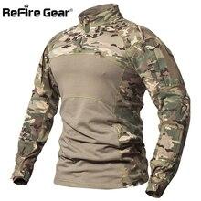 Refire Gear Tactical Combat Shirt Mannen Katoen Militaire Uniform Camouflage T-shirt Multicam Us Army Kleding Camo Lange Mouw