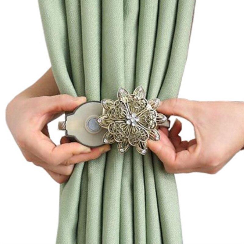Cortina estadounidense creativa hebilla imán cortina de correas atadas correas de cortinas Punch-Free Linda cortina de correas salvajes