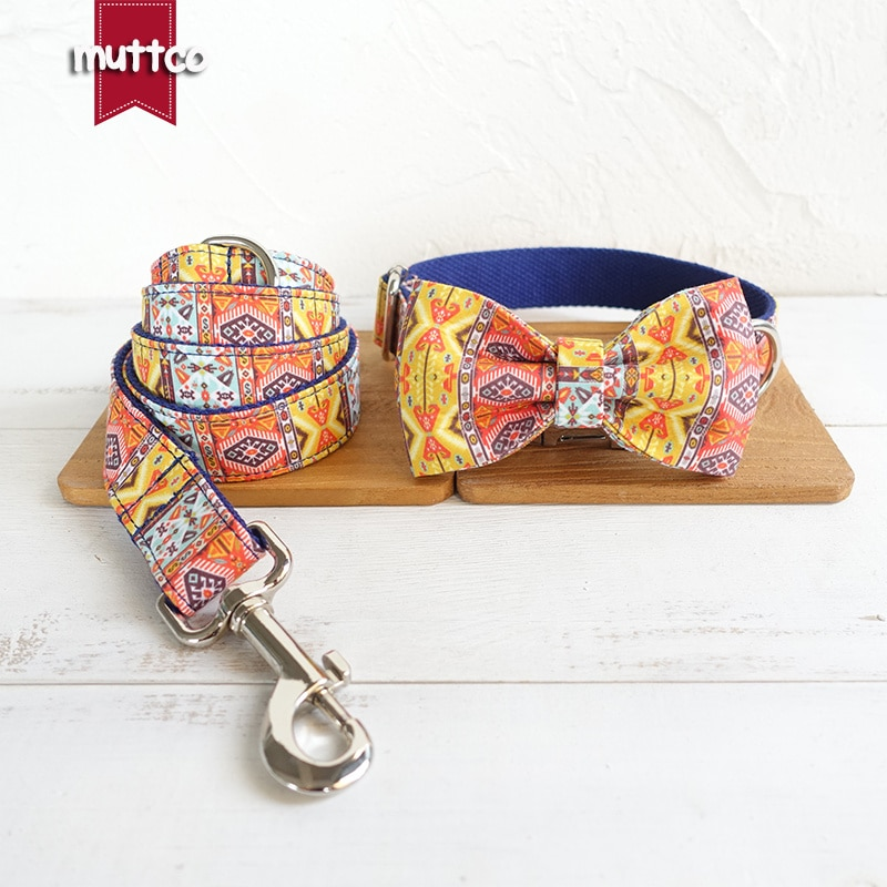 Muttco ajustável artesanal bowtie pet collar o azul boêmio chihuahua filhote de cachorro suprimentos para animais de estimação 5 tamanhos coleira de cachorro conjunto udc054