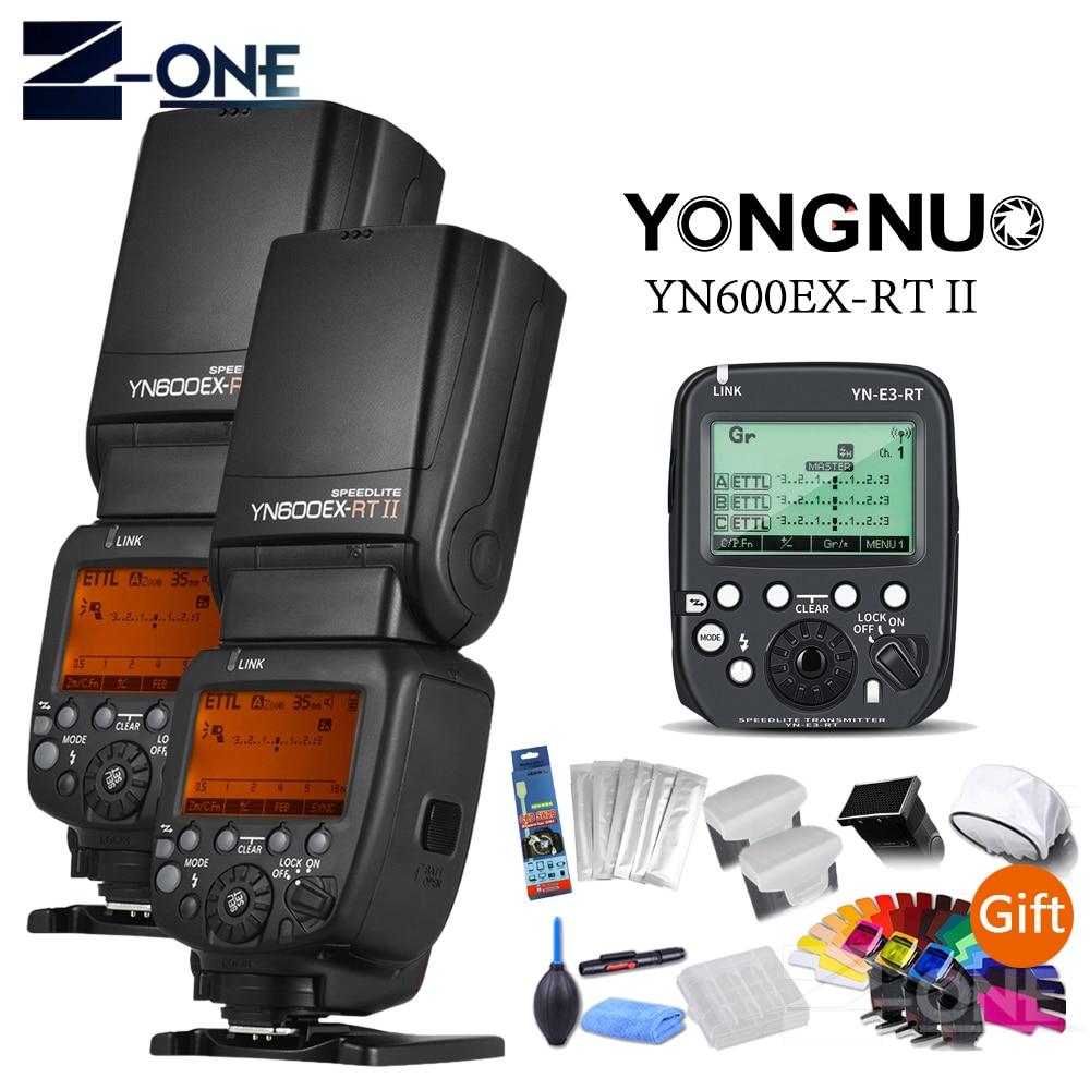 Беспроводная вспышка YONGNUO 2pcsYN-600EX-RT 2,4G HSS 1/8000s Master Flash Speedlite + YN-E3-RT триггер для Canon 5D MARK II III IV 6D