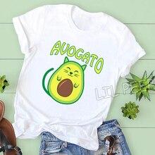Nouveau 90s mignon Avogato imprimer t-shirt décontracté coton Streetwear mode drôle t-shirts o-cou coréen vêtements confortables hauts