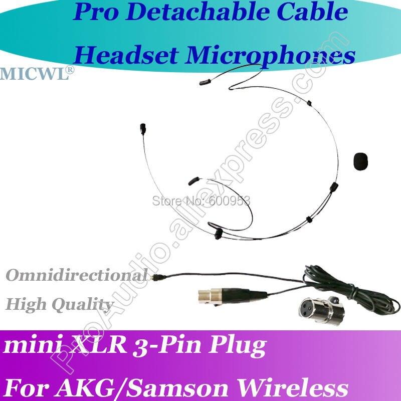 Microfone fone destacável para akg samson gemini, fone de ouvido preto com fio removível, sem fio