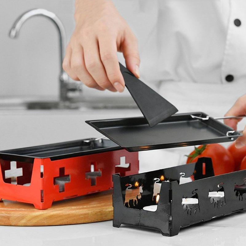 Mini bandeja antiadherente de Metal para hornear queso Raclette, placa de parrilla para horno, bandeja para hornear, marco de estufa, juego de espátula, herramienta para hornear en la cocina