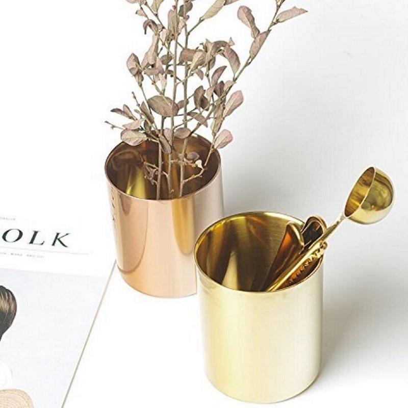 400 ml Estilo nórdico latón dorado jarrón Acero inoxidable taza cilindro bolígrafo soporte para organizadores de escritorio W7390