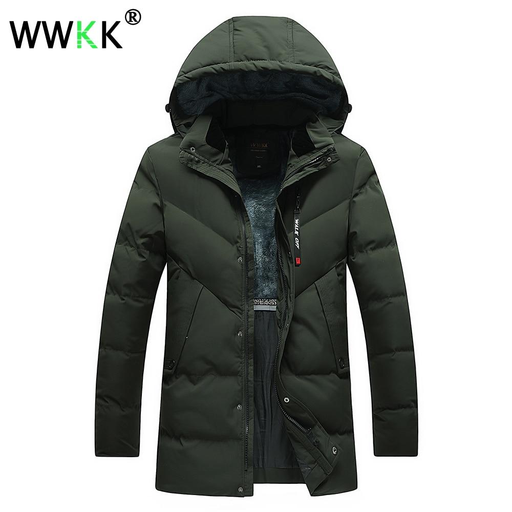 WWKK Trench Coat Men Winter Jackets Parkas Thick Windbreaker Long Overcoat Jaket Mens 4XL Trench Jackets Male Outwear Clothes