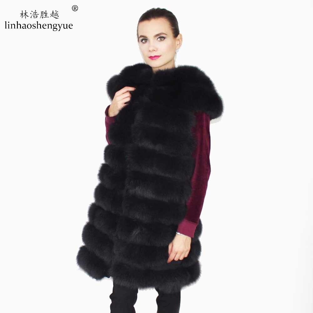 Linhaoshengyue The length of 90CM large shoulder  real fox fur vest,women vest, coat