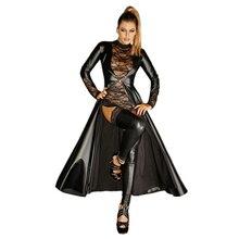 Dream Vine grande taille XXL femmes Look humide Faux cuir Trench Costume luxueux gothique noir vinyle longue queue daronde cape Clubwear