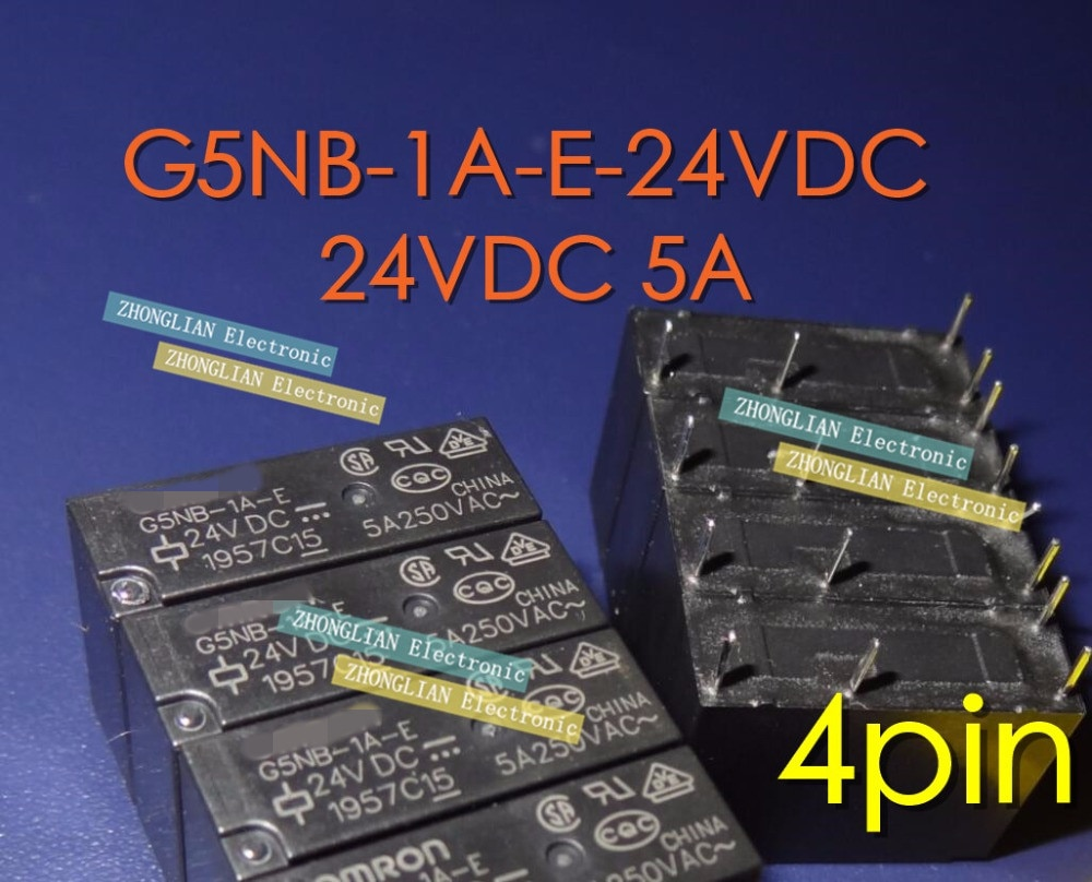 Бесплатная доставка 100 шт новое оригинальное реле G5NB-1A-E-24VDC G5NB-1A-E-DC24V G5NB-1A-E-24V 24VDC 5A 4Pin