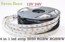 5m RGBW RGBWW 5050 taśmy Led światła DC 12V 24V 4 w 1 chip Led wodoodporny niewodoodporny 60 led/m kryty odkryty dekoracji wnętrz