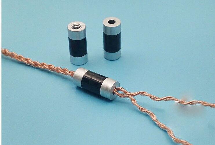 Adaptador de Cable divisor de auriculares de fibra de carbono de pequeño tamaño de aleación de aluminio de 4 Uds para DIY personalizado