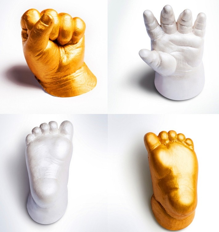 3D Mão Do Bebê Cópia Do Pé mão Kit modelo De Fundição De Gesso do pé tridimensional cuidados com o bebê de tinta Pegada Handprint Lembrança Presente