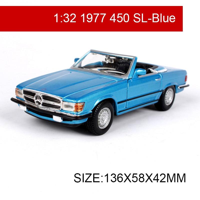 Bburago 132 modelo de carro 1977 450sl r107 roadster clássico carros veículo jogar modelos colecionáveis carros esportivos brinquedos para presente coleção