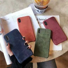 2018 moda novedosa funda de felpa de color sólido coque para iPhone 11 Xs MAX Xr X 7 8 6 6s plus gamuza simple suave carcasa trasera de teléfono