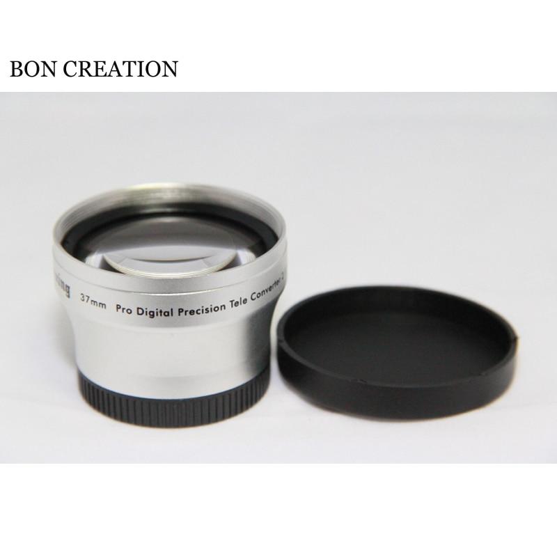 Objetivo profesional BON CREATION, repuesto de lentes profesionales, 37mm, 2.0x, teleobjetivo, objetivo para videocámara de 37mm, 2x plateados con tapa de lente, bolsa de lente suave