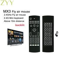Пульт дистанционного управления MX3, Беспроводная мини-клавиатура с подсветкой, 2,4 ГГц, для ПК, Android TV Box, с датчиком движения