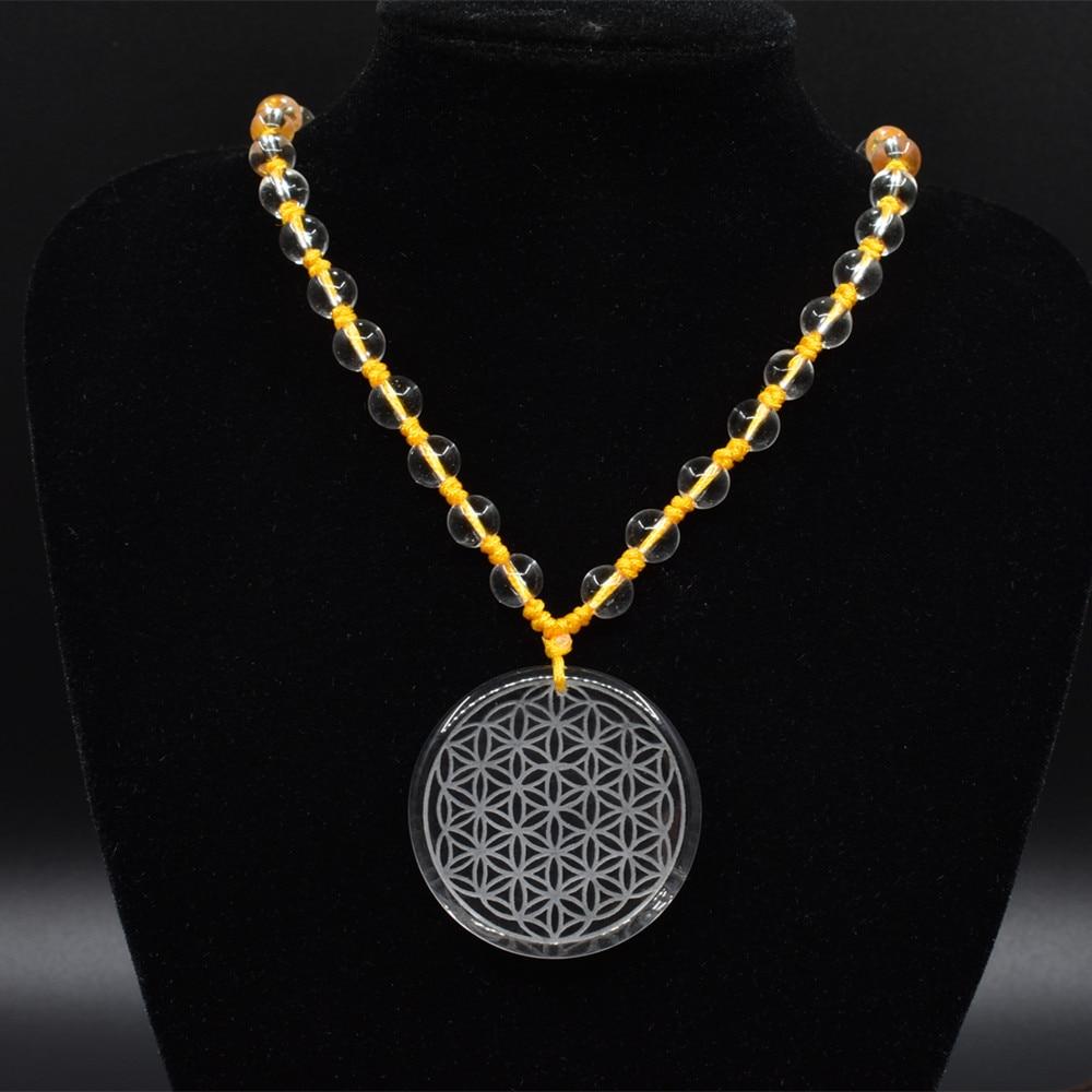 High quality natural stone quartz white crystal pendant pendulum  flower of life pendants Purple rope chakra pendule Ms necklace