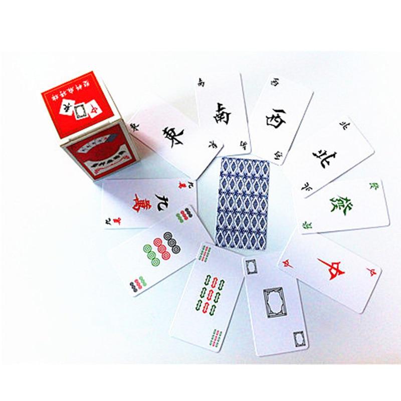 144 PCS Mahjong Puzzle Bord Spiel Familie/Party Eltern Wasserdichte Karten Spiel Unterhaltung